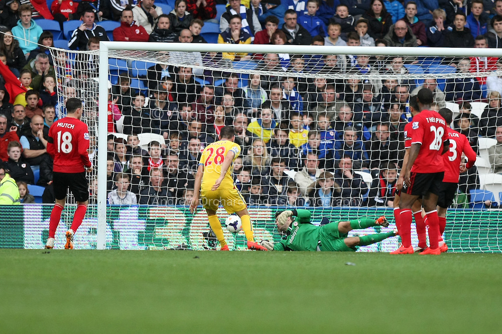 Joe Ledley of Crystal Palace (28)scores his side's second goal. Barclays Premier league match, Cardiff city v Crystal Palace at the Cardiff city stadium in Cardiff, South Wales on Saturday 5th April 2014.<br /> pic by Mark Hawkins, Andrew Orchard sports photography.