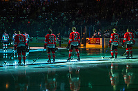 KELOWNA, CANADA - APRIL 8: Matt Revel #18, Colton Veloso #39, Brendan De Jong #21, Joachim Blichfeld #20 and Caleb Jones #3 of the Portland Winterhawks stand on the blue line representing the starting line up of game 2 of round 2 playoffs against the Kelowna Rockets on April 8, 2017 at Prospera Place in Kelowna, British Columbia, Canada.  (Photo by Marissa Baecker/Shoot the Breeze)  *** Local Caption ***