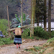 A women leaves the Lung Khau Nhin Market. Vietnam. Lung Khau Nhin Market is rural tribal market hiding itself amongst the mountains and forests of the far north Vietnam about 10 km from the border with China. The market plays an important role for the local ethnic people, Flower Hmong, Black Zao, Zay, and very small ethnic groups  Pa Zi, Tou Zi, Tou Lao. Tourist trips to the market run from Sapa and Lao Cai every week. Lung Khau Nhin Market, Vietnam.15th March 2012. Photo Tim Clayton