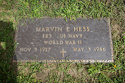 31 August 2017:   Veterans graves in Park Hill Cemetery in eastern McLean County.<br /> <br /> Marvin E Hess  SK3  US Navy  World War II  Nov 3 1927  May 3 1986