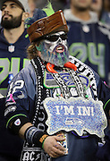 A fan sports a painted face and a team colored beard as he cheers for the team during the Seattle Seahawks NFL week 19 NFC Divisional Playoff football game against the Carolina Panthers on Saturday, Jan. 10, 2015 in Seattle. The Seahawks won the game 31-17. ©Paul Anthony Spinelli