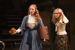 """© Licensed to London News Pictures. 21/11/2013. London, England. Pictured: Emma West as Lizzie Siddal and Jayne Wisener as Annie Miller. World premiere of the play """"Lizzie Siddal"""" at the Arcola Theatre, Hackney, London. The play tells the story of the woman who was 'Ophelia' in Millais' famous painting. Running from 20 November to 21 December 2013. With Emma West as Lizzie Siddal and Tom Bateman as Dante Gabriel Rossetti. Photo credit: Bettina Strenske/LNP"""