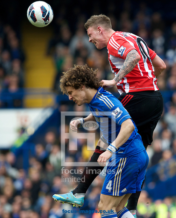 Picture by Alan Stanford/Focus Images Ltd +44 7915 056117.07/04/2013.David Luiz of Chelsea is beaten to the ball by Connor Wickham of Sunderland during the Barclays Premier League match at Stamford Bridge, London.