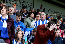 Hartlepool United fans look dejected after seeing their side relegated from Sky Bet League Two and The EFL - Mandatory by-line: Robbie Stephenson/JMP - 06/05/2017 - FOOTBALL - The Northern Gas and Power Stadium (Victoria Park) - Hartlepool, England - Hartlepool United v Doncaster Rovers - Sky Bet League Two