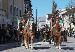 02.04.2018, Traunstein, GER, Georgi Ritt Traunstein 2018, im Bild Gebirgsschützen Traunstein // during the traditionell Georgi Ritt on Easter Monday in. in Traunstein, Germany on 2018/04/02. EXPA Pictures © 2018, PhotoCredit: EXPA/ Erst Wukits