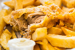 """""""Fish"""" made from banana blossom and chips at London's first totally vegan chippy in Hackney, North East London. Hackney, London, October 08 2018."""