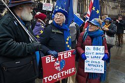 London, UK. 22 January, 2020. Pro-EU activists from Stand of Defiance European Movement (SODEM) protest outside Parliament.