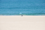 Photo beach waves landscape wall art. Blue ocean, blue umbrella, sand, waves. Dockweiler, El Segundo, Southbay, Southern California beach landscape. Matted print, limited edition. Fine art photography print.