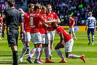 ALKMAAR - 01-05-2016, AZ - de Graafschap, AFAS Stadion, 4-1, AZ speler Ridgeciano Haps krijgt een penalty, AZ speler Joris van Overeem, AZ speler Dabney dos Santos Souza.