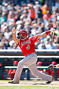 DETROIT, MI - APRIL 19: Albert Pujols #5 of Los Angeles Angels bats during the game against the Detroit Tigers at Comerica Park on April 19, 2014 in Detroit, Michigan. The Tigers won 5-2. (Photo by Joe Robbins)