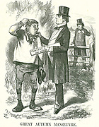 Great Autumn Manoeuvre':  Gladstone thought that eventually the vote must be given to agricultural labourers (Hodge). At this time his premiership was shaky and Disraeli is waiting to take his place. John Tenniel cartoon from 'Punch', London, 9 August 1873.