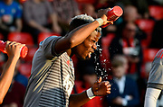 Paul Pogba (6) of Manchester United pours water over his head while warming up before the Premier League match between Bournemouth and Manchester United at the Vitality Stadium, Bournemouth, England on 18 April 2018. Picture by Graham Hunt.