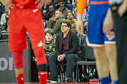Michael McIntyre and son watch during the NBA London Game match between Washington Wizards and New York Knicks at the O2 Arena, London, United Kingdom on 17 January 2019.