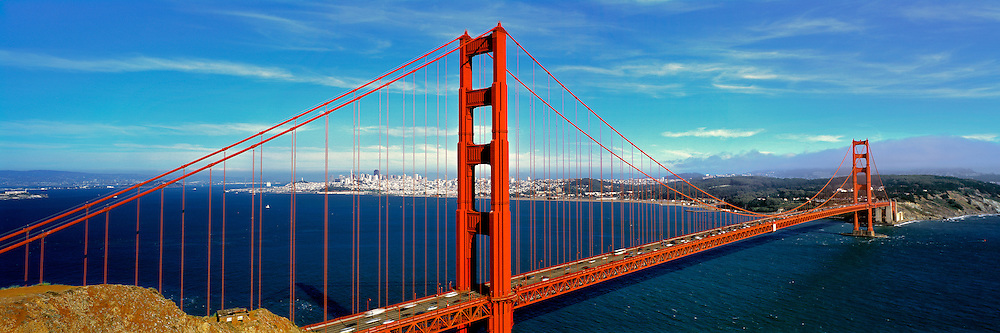 The impressive Golden Gate Bridge on a clear, bright day in San Francisco, California.