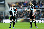 DeAndre Yedlin (#22) of Newcastle United in discussion with Paul Dummett (#3) of Newcastle United during the Premier League match between Newcastle United and Huddersfield Town at St. James's Park, Newcastle, England on 31 March 2018. Picture by Craig Doyle.