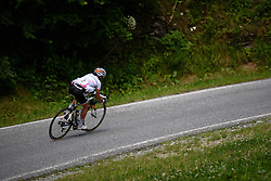 After losing contact with the Abbott and Stevens, Niewiadoma attacks the descent to catch up at Giro Rosa 2016 - Stage 6. A 118.6 km road race from Andora to Alassio, Italy on July 7th 2016.