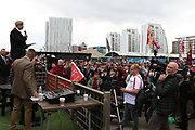 Robin E Horsfall Speaker and ex SAS addresses the crowd during the Soldier F Protest at Media City, Salford, United Kingdom on 18 May 2019.