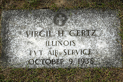 31 August 2017:   Veterans graves in Park Hill Cemetery in eastern McLean County.<br /> <br /> Virgil H Gertz Illinois Private Air Service October 9 1938