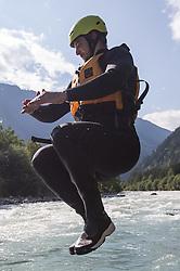 14.07.2015, Ainet, AUT, Eishockey Cracks bei Raftingtour auf der Isel, im Bild Stafan Bacher (EC VSV, EBEL) // Hockey Cracks during a rafting tour on the East Tyrolean glacial river Isel. Ainet, Austria on 2015/07/14. EXPA Pictures © 2015, PhotoCredit: EXPA/ Johann Groder
