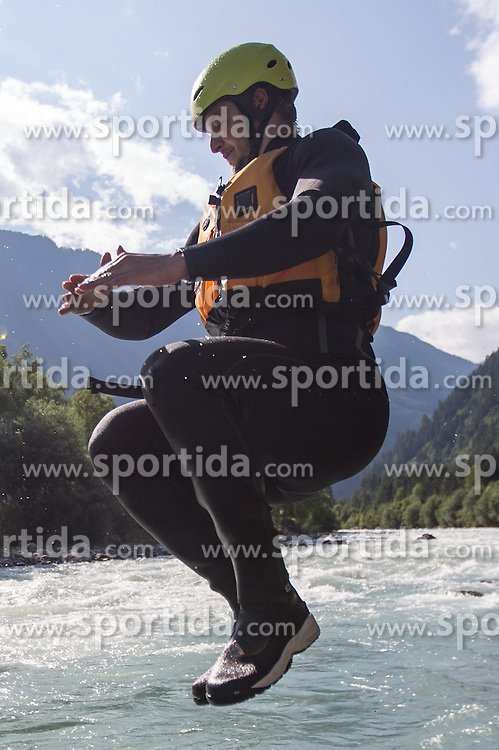 14.07.2015, Ainet, AUT, Eishockey Cracks bei Raftingtour auf der Isel, im Bild Stafan Bacher (EC VSV, EBEL) // Hockey Cracks during a rafting tour on the East Tyrolean glacial river Isel. Ainet, Austria on 2015/07/14. EXPA Pictures © 2015, PhotoCredit: EXPA/ Johann Groder