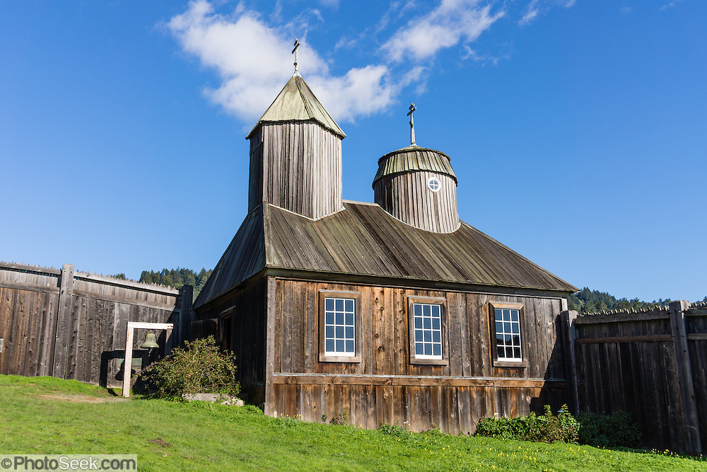 "Originally built in the 1820s, the restored chapel at Fort Ross was the first Russian Orthodox structure in North America outside of Alaska. Fort Ross State Historic Park preserves a former Russian colony (1812-1842) on the west coast of North America, in what is now Sonoma County, California, USA. Visit Fort Ross and dramatic coastal scenery 11 miles north of Jenner on California Highway One. For centuries before Europeans arrived, this site was called Metini and had been occupied by the Kashaya band of Pomo people who wove intricate baskets and harvested sea life, plants, acorns, deer, and small mammals. Sponsored by the Russian Empire, ""Settlement Ross"" was multicultural, built mostly by Alaskan Alutiiq natives and occupied mostly by native Siberians, Alaskans, Hawaiians, Californians, and mixed Europeans. Initially, sea otter pelts funded Russian expansion, but by 1820, overhunting motivated the Russian-American Company to introduce moratoriums on hunting seals and otters, the first marine-mammal conservation laws in the Pacific. Russian voyages greatly expanded California's scientific knowledge. Renamed ""Ross"" in 1812 in honor of Imperial Russian (Rossiia), Fortress Ross was intended to grow wheat and other crops to feed Russians living in Alaska, but after 30 years was found to be unsustainable. Fort Ross was sold to John Sutter in 1841, and his trusted assistant John Bidwell transported its hardware and animals to Sutter's Fort in the Sacramento Valley. Fort Ross is a landmark in European imperialism, which brought Spanish expanding west across the Atlantic Ocean and Russians spreading east across Siberia and the Pacific Ocean. In the early 1800s, Russians coming from the north met Spanish coming from the south along the Pacific Coast of California, followed by the USA arriving from the east in 1846 for the Mexican-American War. Today, Fort Ross is a California Historical Landmark and a National Historic Landmark. See www.FortRoss.org on the internet."