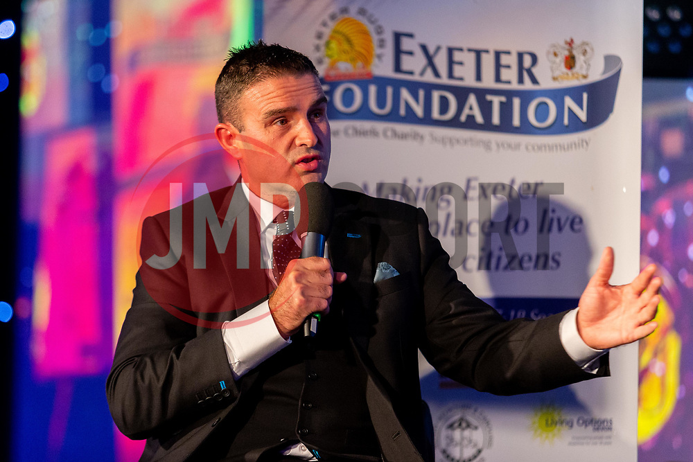 Mark Stevens interviews Rob Baxter - Ryan Hiscott/JMP - 06/08/2018 - RUGBY - Sandy Park - Exeter, England - Exeter Chiefs Season Launch Dinner