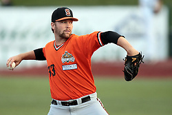 09 July 2015: <br /> Starting Pitcher Brett Mabry. Pete Rose night during a Frontier League Baseball game between the Schaumburg Boomers and the Normal CornBelters at Corn Crib Stadium on the campus of Heartland Community College in Normal Illinois