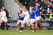 England player Sarah McKenna finds a gap in the French defence in the first half during the Women's 6 Nations match between England Women and France Women at the Keepmoat Stadium, Doncaster, England on 10 February 2019.