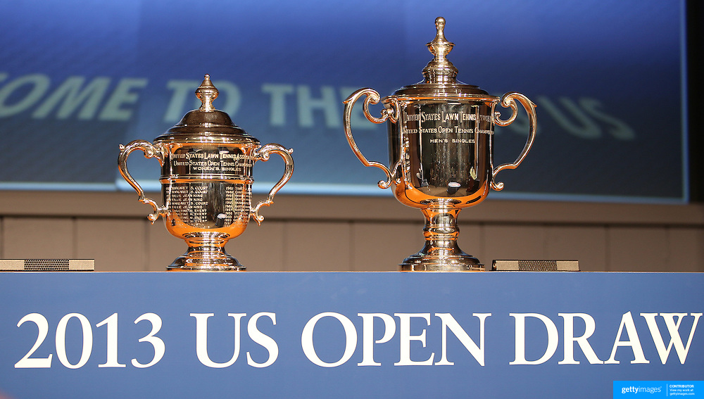The US Open Tennis Women's and Men's trophies at the 2013 US Open draw ceremony. Flushing. New York, USA. 22nd August 2013. Photo Tim Clayton