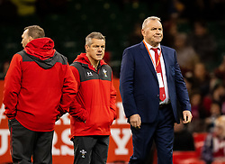 Head Coach Wayne Pivac of Wales during the pre match warm up<br /> <br /> Photographer Simon King/Replay Images<br /> <br /> Friendly - Wales v Barbarians - Saturday 30th November 2019 - Principality Stadium - Cardiff<br /> <br /> World Copyright © Replay Images . All rights reserved. info@replayimages.co.uk - http://replayimages.co.uk