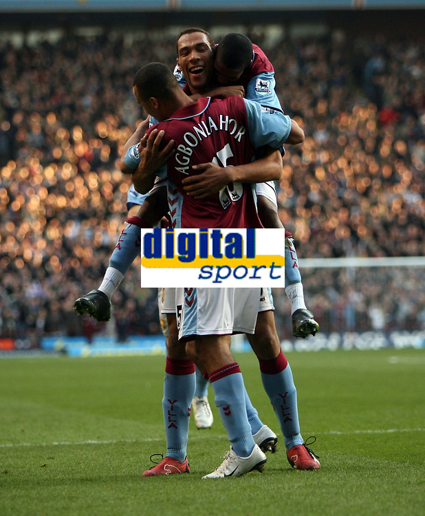 Photo: Rich Eaton.<br /> <br /> Aston Villa v West Ham. The Barclays Premiership. 03/02/2007. John Carew of Aston Villa (facing) celebrates scoring on his debut to make the score 1-0