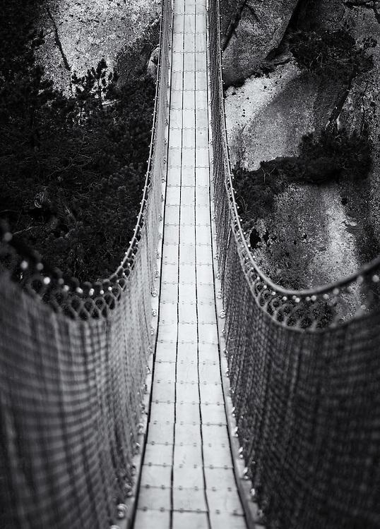 Switzerland - Rope bridge over waterfalls