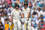 Steve Smith of Australia and Marnus Labuschagne of Australia chat between overs during the 5th International Test Match 2019 match between England and Australia at the Oval, London, United Kingdom on 13 September 2019.