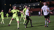 Louis Almond (Southport) watches as his shot goes narrowly wide during the Vanarama National League match between Gateshead and Southport at Gateshead International Stadium, Gateshead, United Kingdom on 8 December 2015. Photo by Mark P Doherty.