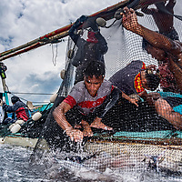 Fisherman haul in their catch of tuna in Indonesia.