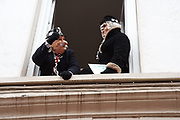 France, Dunkerque, 26 February 2017. Carnaval de Dunkerque. While the procession progresses, Yollande et Léon appear at window. Nobody knows who they really are.