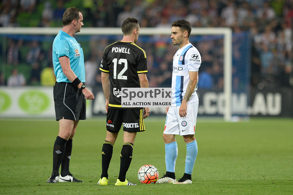 Blake Powell of Wellington Phoenix, Anthony Caceres of Melbourne City, Hyundai A-League, January 25th 2016, RD16 match between Melbourne City FC v Wellington Phoenix FC in a 3:01 win to City  at Aami Park,  Melbourne, Australia. © Mark Avellino | SportPix.org.uk