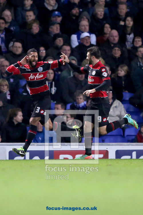 Picture by Richard Calver/Focus Images Ltd +447792 981244<br /> 11/01/2014<br /> Armand Traore (left) of Queens Park Rangers celebrates after scoring his sides third goal with team mate, Charlie Austin during the Sky Bet Championship match against Ipswich Town at Portman Road, Ipswich.