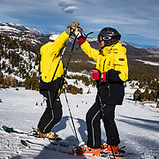 Jim Sanford, 72, and his wife, Jean Holden, 70, both retired from the aerospace industry and moved to Mammoth Lakes, CA to lead an active retirement. They serve as Ski Hosts on Mammoth Mountain where they greet arriving visitors, help them park and get their gear to the lifts. This is their 10th year as Ski Hosts<br /> <br /> Jim also serves guests on the mountain by skiing the 3500 acres of terrain and assisting the winter visitors with directions to certain runs and generally making sure that everyone is skiing or snowboarding safely. <br /> <br /> There are over 100 Ski Hosts at Mammoth Mountain Ski Area. All are expected to have friendly, outgoing personalities as well as <br /> knowledge of our area and availability to work at least 60 days during the season. Benefits include pay, an employee and dependent season passes good throughout the company holdings and discounts at food and retail locations at all Mammoth Resort properties.  Most would also say the camaraderie built within the program is what keeps them involved. The program started in 1988 with a small number of volunteers.