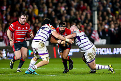 James Hanson of Gloucester Rugby is tackled - Mandatory by-line: Robbie Stephenson/JMP - 16/11/2018 - RUGBY - Kingsholm - Gloucester, England - Gloucester Rugby v Leicester Tigers - Gallagher Premiership Rugby