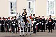 Cavalry Officer and officer cadets at passing out graduation parade at Sandhurst Military Academy, Surrey