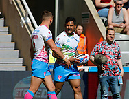 Ben Barba  (R) of St Helens  celebrates scores the try with team mate Tommy Makinson against  Widnes Vikings during the Betfred Super League match at the Dacia Magic Weekend, St. James's Park, Newcastle<br /> Picture by Stephen Gaunt/Focus Images Ltd +447904 833202<br /> 19/05/2018