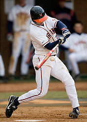 Virginia Cavaliers INF David Adams (23) makes contact on a pitch.  The #16 ranked Virginia Cavaliers baseball team defeated the Siena Saints 17-2 at the University of Virginia's Davenport Field in Charlottesville, VA on February 29, 2008.