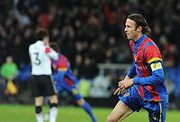 Basel, Fussball, UEFA Champions League, FC Basel - Manchester United. 7. Dezember. 2011. Marco Streller Jubelt uebers 1:0. (Daniel Teuscher/EQ Images)