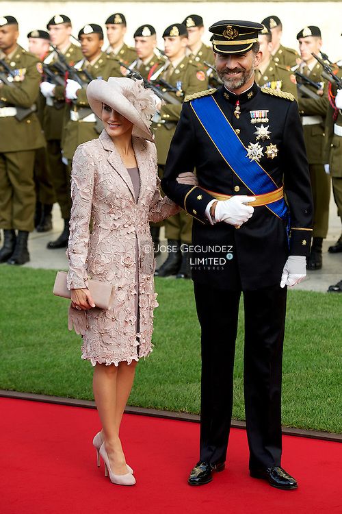 TRH Prince Felipe and Princess Letizia attend a Religious wedding of HRH Guillaume the Hereditary Grand Duke and Countess Stephanie de Lannoy at Cathedral of Notre-Dame de Luxembourg on October 20, 2012 in Luxembourg