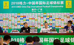 NANNING, CHINA - Thursday, March 22, 2018: Wales' new manager Ryan Giggs and new record scorer Gareth Bale attends the post-match press conference, after his hat-trick made him the country's leading goal-scorer, surpassing the record held by Liverpool legend Ian Rush, after the opening match of the 2018 Gree China Cup International Football Championship between China and Wales at the Guangxi Sports Centre. (Pic by David Rawcliffe/Propaganda)