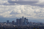 Storm clouds gather over the skyline of downtown Los Angeles, California, U.S., on Wednesday, March 2, 2014. Forecasters are saying that a cold low-pressure system that originated in the Gulf of Alaska threatened snowfall at low elevations in the Southland today, prompting the issuance of a winter weather advisory in the San Gabriel<br /> Mountains in Los Angeles and Ventura counties. (Photo by Ringo Chiu/PHOTOFORMULA.com)