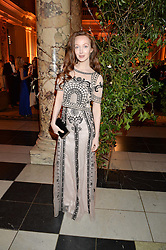 OLIVIA GRANT at the inaugural dinner for The Queen Elizabeth Scholarship Trust hosted by Viscount Linley at the V&A museum, London on 25th February 2016.