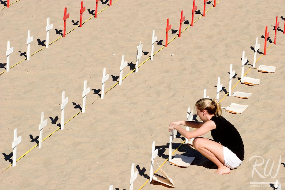 Young Female Volunteer at Arlington West Memorial, Santa Monica, California