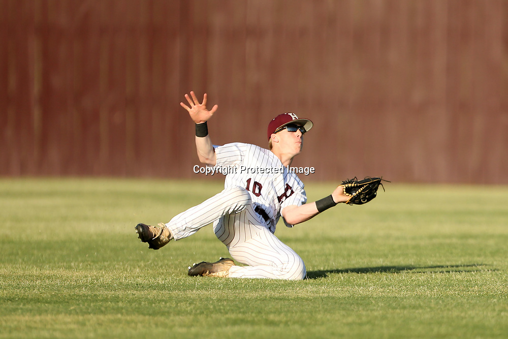 Houston's center fielder Jered Bean makes the out on a fly ball in the first inning against Lafayette on Friday night.